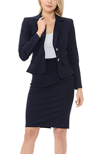 Sweethabit Women's Classic Slim Fit Blazer and Skirt Suit Set - Made In USA(3017)