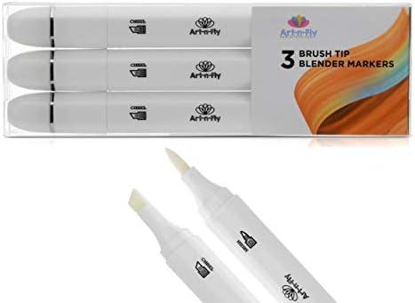 Rotulador de pinceles de mezcla, sin color, con doble punta, 3 unidades, doble extremo, no tóxico, con alcohol, para artistas, manga, suministros de arte