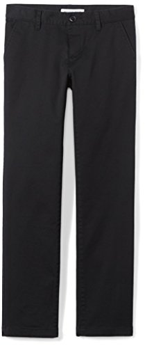 Amazon Essentials Girls' Flat Front Uniform Chino Pant, Black, 3T by Amazon Essentials