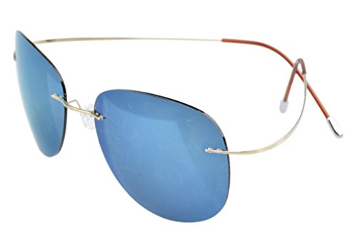 Eyekepper Rimless Titanium Frame Polarized Sunglasses Gold/Blue - Wire Polarized
