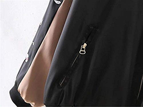 Outwear Casual Bordados Mujeres Laterales Chaqueta Cómodo Casuales Piloto Bolsillos Classic Reindeer Outerwear Cremallera Con Larga Moda Negro Manga Mujer Elegante Chaquetas Bomber Otoño OwqHz0z1
