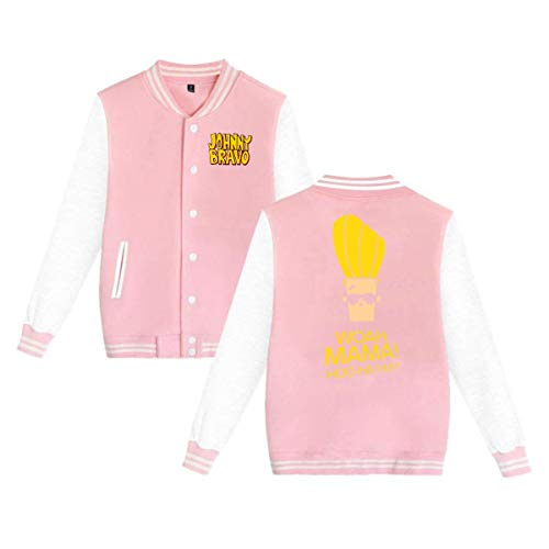 Baseball Uniform Jacket Sport Coat, Jonny Handsome and Clumsy Bravo Cotton Sweater for Women Men Boy Girls Pink ()
