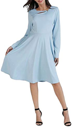 Womens Jaycargogo Light Pleated Slim Blue Dress Sleeve Neck Long Hollow O Swing ZwAwqd