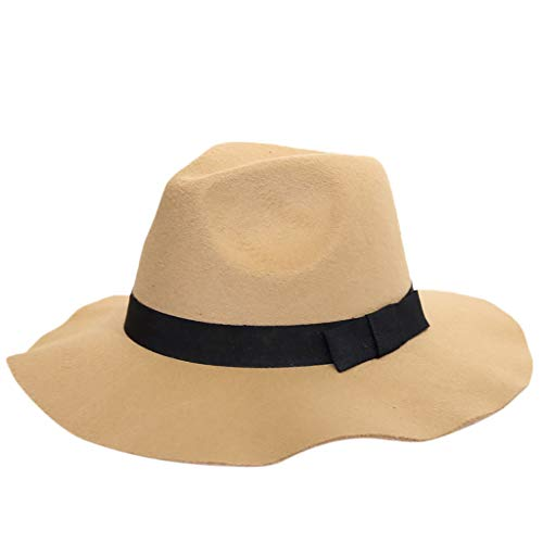 JESPER Women's Classic Fedora Hat Solid Crushable Wool Outback Hat Panama Hat Short Brim Khaki
