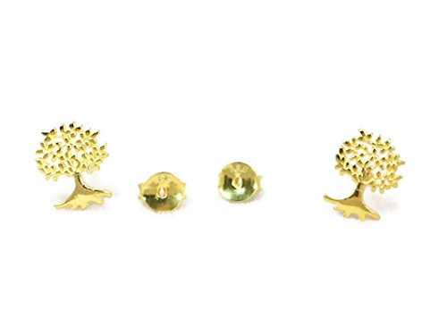 Real 925 Sterling Silver Cartilage Earring Stud Tree of Life Real Gold Plated