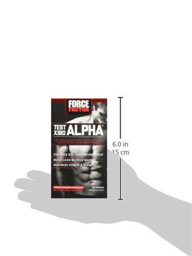 Test X180 Alpha Free Testosterone Booster to Increase Libido, Build Lean Muscle, Boost Stamina, Improve Sexual Performance, Force Factor, 120 Count