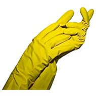 Latex Cleaning Gloves for Washing Kitchen, Bathroom and More (Medium, Yellow)