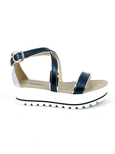 Platform Con Pelle Sandalo Blu Nerogiardini In gfAqBX