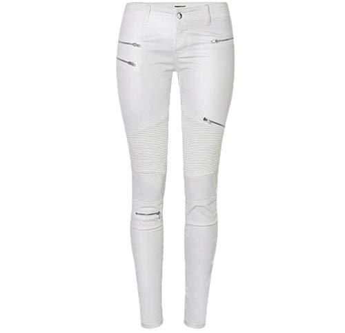 Sintetica Matita Damigella Tempo Pantaloni Pelle Lunga Leggins Autunno Skinny Libero A Pants Con Cerniera Fashion Tendenza Bianco Eleganti nYq5r5Z1w