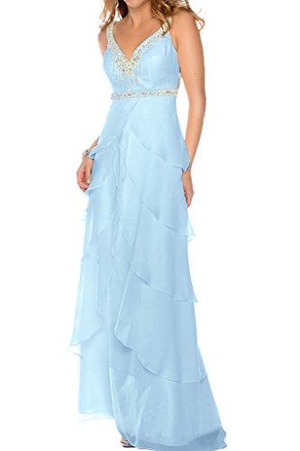 Bodenlang 2017 Marie La V Braut Chiffon Abendkleider Hell Gelb Promkleider Dunkel Blau Ausschnitt Festlichkleider Uqv4gqA