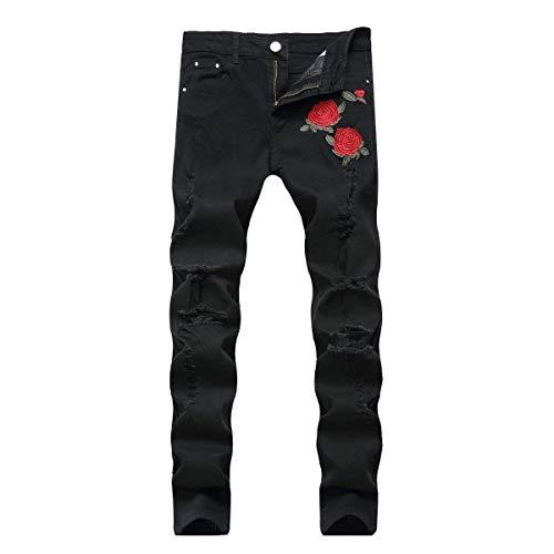 Pantalones La De Salón Hombres Denim Flaco Vaqueros Mediana Skinny Fashion Vendimia Beforerose Elástico Cintura Lannister Recta Rasgados Jean 641C6xE