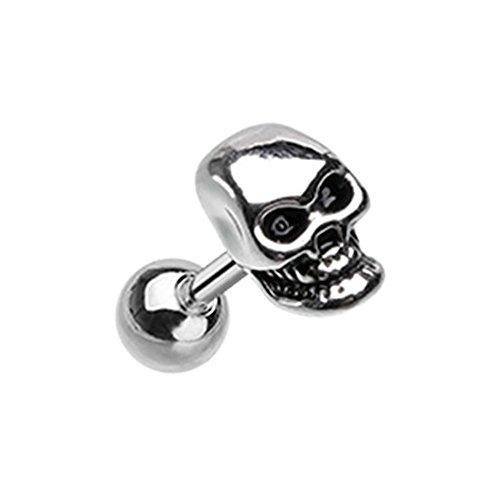 Skull Labret - Inspiration Dezigns 18G 6mm Steel Cartilage Tragus Earring Stud Skull Head