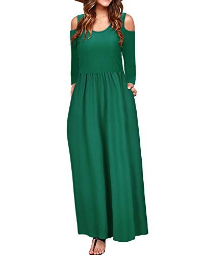 (STYLEWORD Women's Cold Shoulder Elegant Maxi Long Dress with Pocket(Green-506,L))