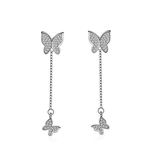 Orris Diamond Butterfly Tassel Ear Jacket Style Two Way Wearing Cute Dangle Drop Earrings&Stud For Women ()