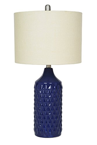 (Catalina Lighting 19970-004 Cassie Ceramic 26.5-inch Quilted Table Lamp with Fabric Shade, Navy Blue)
