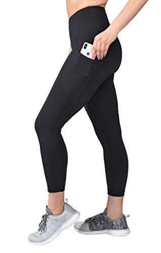 Reflex Sportswear - 90 Degree By Reflex High Waist Squat Proof Yoga Capri Leggings with Side Phone Pockets - Black - Large