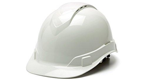 Pyramex Safety HP44110V Ridgeline Cap Style Hard Hat with 4-Point Vented Ratchet, White (White Hardhat)