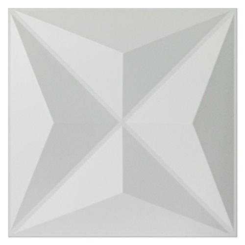 (Art3d PVC 3D Wall Panels White Wall Tiles Star Design, 11.8