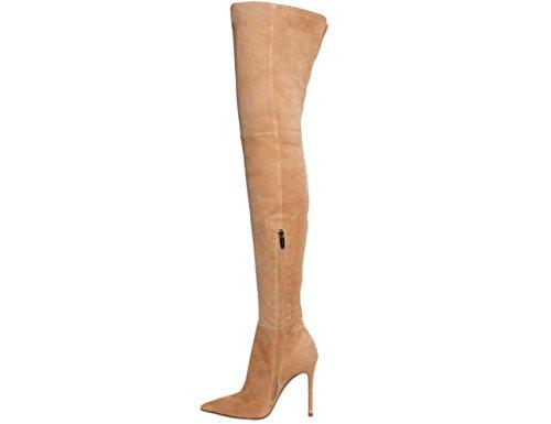 Die meisten Frauen Spitz Stiefeletten über Kniehohe Stiefel Stretch Wildleder Stilettos Stiefel Hellbraun
