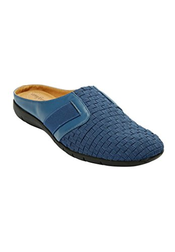 Denim Leather Clogs (Comfortview Women's Wide Lola Faux Leather Mules Denim,8 1/2 Ww)