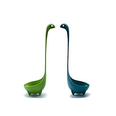 High Quality Nessie Soup Ladle 2 Spoon Set for Serving Gravy, Sauce and More. Adorable Loch Ness Monster is Dishwasher Safe and Stands Upright in the Kitchen