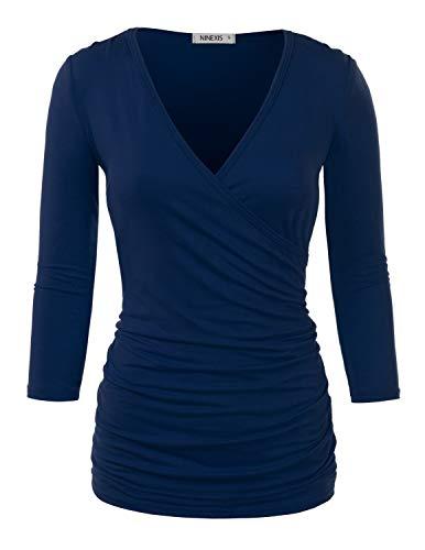Doublju Womens 3/4 Sleeve V-Neck Surplice Wrap Shirt with Plus Size Navy Large ()