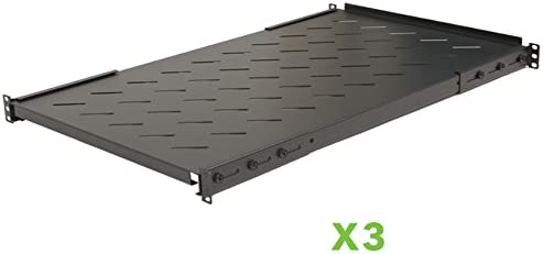 NavePoint Fixed Rack Vented Server Shelf 1U 19 Inch 4 Post Rack Mount Adjustable from 17-41 Inch Set of 3 Black