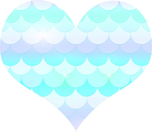 Beautiful Blue Scalloped Scale Wave Design Shapes Silhouette Cartoon Vinyl Sticker, Heart