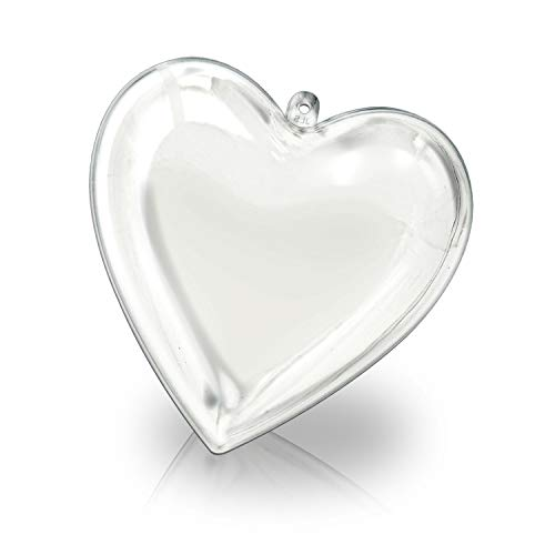 KEIVA Clear Plastic Acrylic Fillable Heart Shape Ball Ornament 65mm - Pack of 10 (Heart Size 65mm)