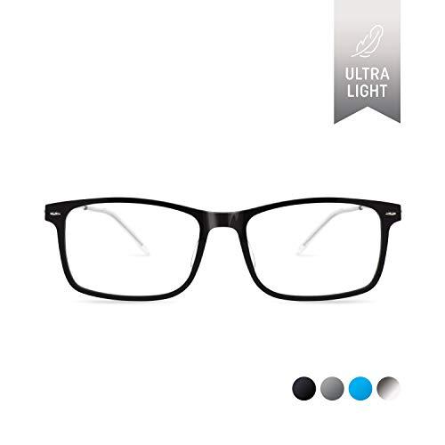 Eyeglasses Black 101 Frame - SQV i-FIT 101 Ultra-light Screwless Eyeglass Frames - Lightweight Clear Lens Non-Prescription Plastic Glasses Frame - Square Rectangle Designer Eyeglasses for Men (Black)
