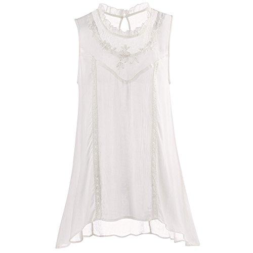 CATALOG CLASSICS Women's Gauze Victorian Tunic - Mesh Neck Sleeveless Top - 2X -