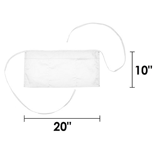 Waist Aprons Commercial Restaurant Home Bib Spun Poly Cotton Kitchen (3 Pockets) in White 100 Pack by DALIX (Image #2)