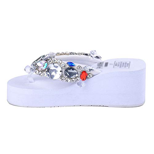 F-OXMY Women's Rhinestones Flip Flops Platform Wedge Sandals Non-Slip Thick Bottom Beach Thong Sandal White