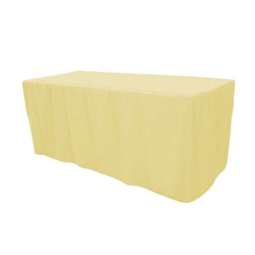 Your Chair Covers - 6 ft. Fitted Polyester Tablecloth Rectangular Pastel Yellow, Premium Wedding Table Cloth for 6 ft Rectangle Tables