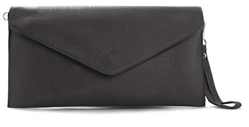 Big Handbag Shop Womens Plain Vegan Leather Envelope Wristlet Clutch Messenger Crossbody Shoulder Bag Dark Grey