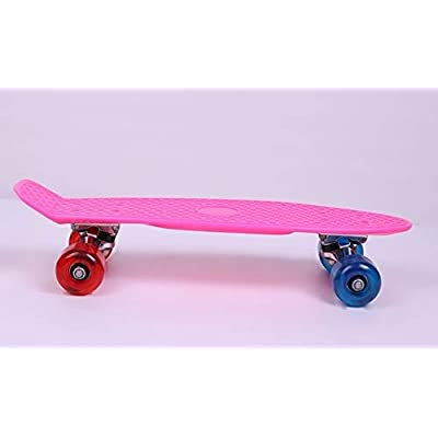 HENGTONGTONGXUN, Direct Explosion of 17 inch Fish Plate Child Scooter 4 Wheel Skateboard Snake Board Flat Board PU Wheels Unisex (Color : Pink): Sports & Outdoors