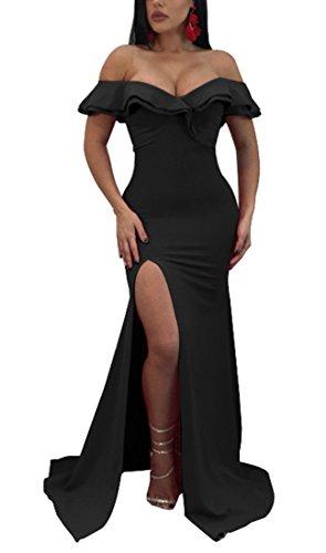 (Kearia Women Formal Ruffle Off The Shoulder Bodycon Side Split Mermaid Evening Party Dress Black Medium)
