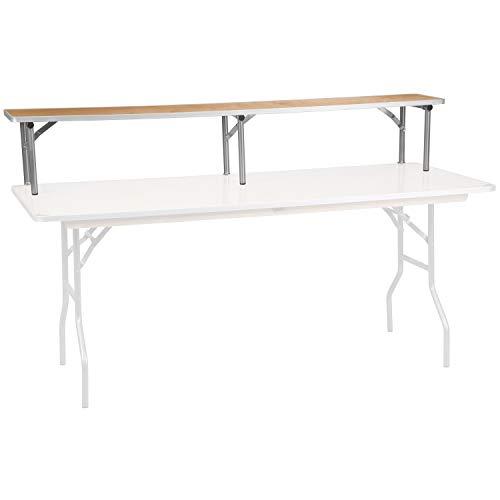 OKSLO 72'' x 12'' x 12'' birchwood bar top riser with silver legs model d403
