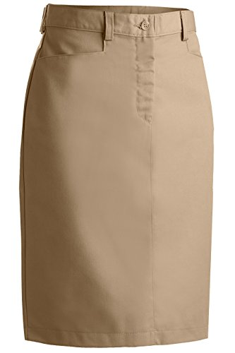 20w Skirt - Edwards Garment Women's Flat Front Chino Skirt, Tan, 20W R