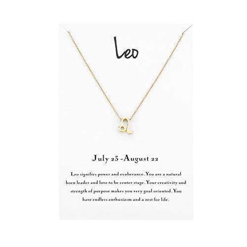 Mocya Leo Zodiac Necklace Women Jewelry Horoscope Constellation Pendant Charm Astrology Birthday Gifts