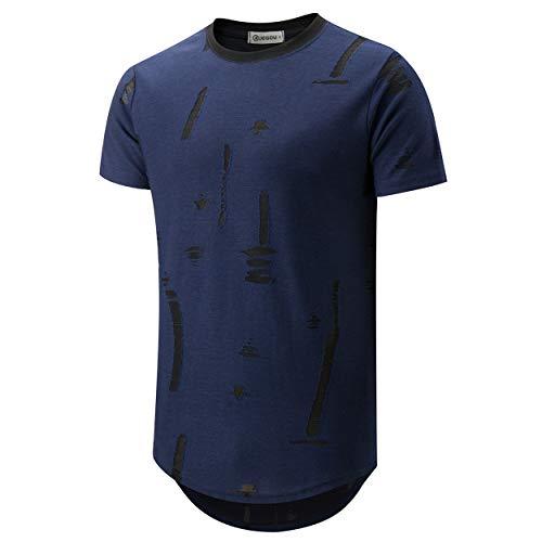 KLIEGOU Mens Hipster Hip Hop Round Hemline Hole T Shirt 1805 (Dark Blue XXL) (Hipster Fashion)