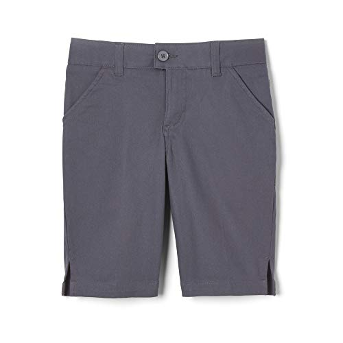 (French Toast Girls Size' Twill Bermuda Short, Grey, 10.5 Plus)