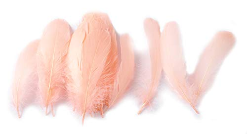 (Colorful Goose Feathers, for DIY Craft Wedding Home Party Decorations 50pcs/Pack/ (4-7.8 inch) (Skin Color))