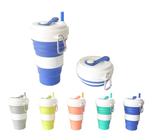 HRDiQiu Collapsible Mug,Silicone Portable Travel Cup with Leak-Proof Lid Straw Soft Reusable Hot Iced Coffee to Go Tea Water Cups Pocketsize Women Men Camping Hiking Outdoors Companion Royal Blue