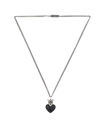 King Baby Jet Crowned Heart Day of The Dead Carving Pendant Necklace