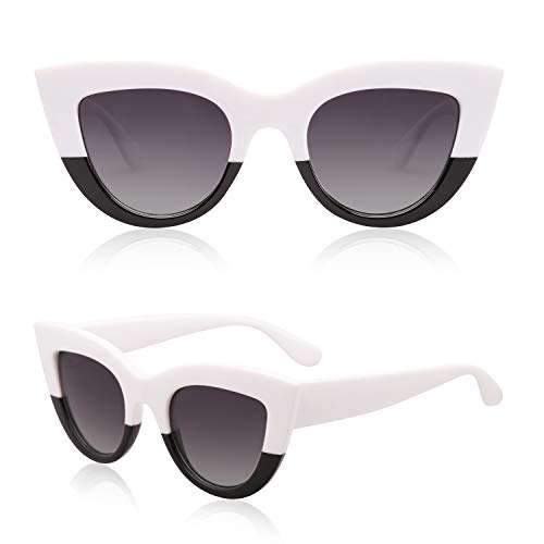 (SOJOS Retro Vintage Cateye Sunglasses for Women Plastic Frame Mirrored Lens SJ2939 with White&Black Frame/Grey)