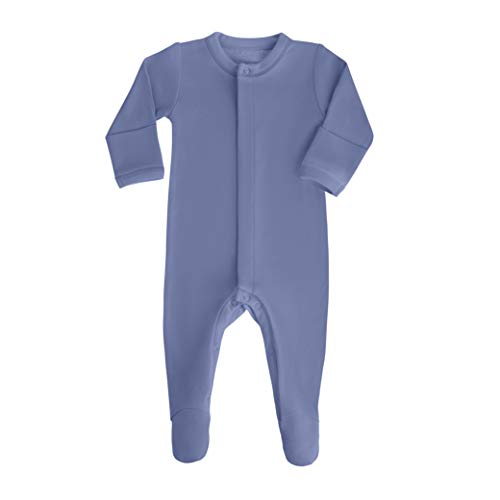 bonamy Baby Unisex Organic Cotton Footie Sleeper with Mittens-Sleep 'N Play for Boys with Long Sleeves in Blue
