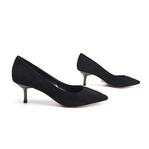 Yukun zapatos de tacón alto Zapatos De Tacón Bajo Mujer Otoño Adulto Ritual Zapatos De Tacón Alto Zapatos De Trabajo Tacón De Aguja Estilete Salvaje, Mid-Heel, 36, Stone Blue Black