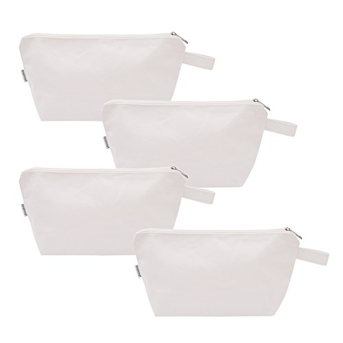 Augbunny 100% Cotton 16oz Heavy Duty Multi-purpose Canvas Zipper Cosmetics Makeup Travel Toiletry Organizing Pouch - Pouch White