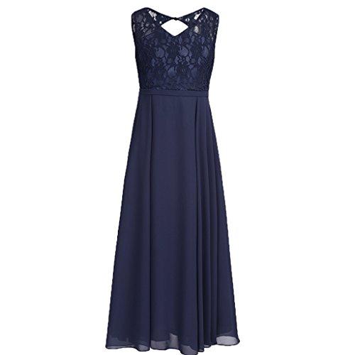 YiZYiF Kids Big Girls Lace Chiffon Bridesmaid Flower Girl Dress Dance Party Maxi Gown Navy Blue 14